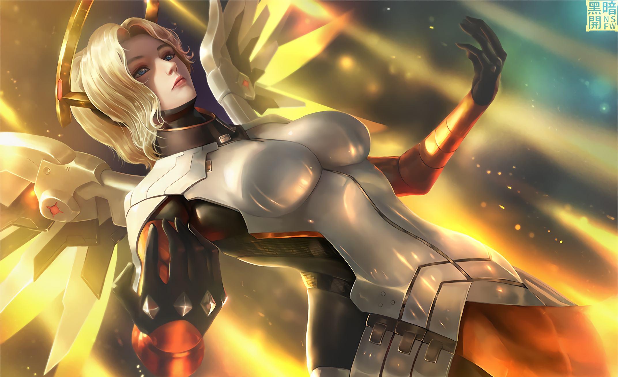 Beautiful Angel Girl Mercy Overwatch Game Wallpaper Artist