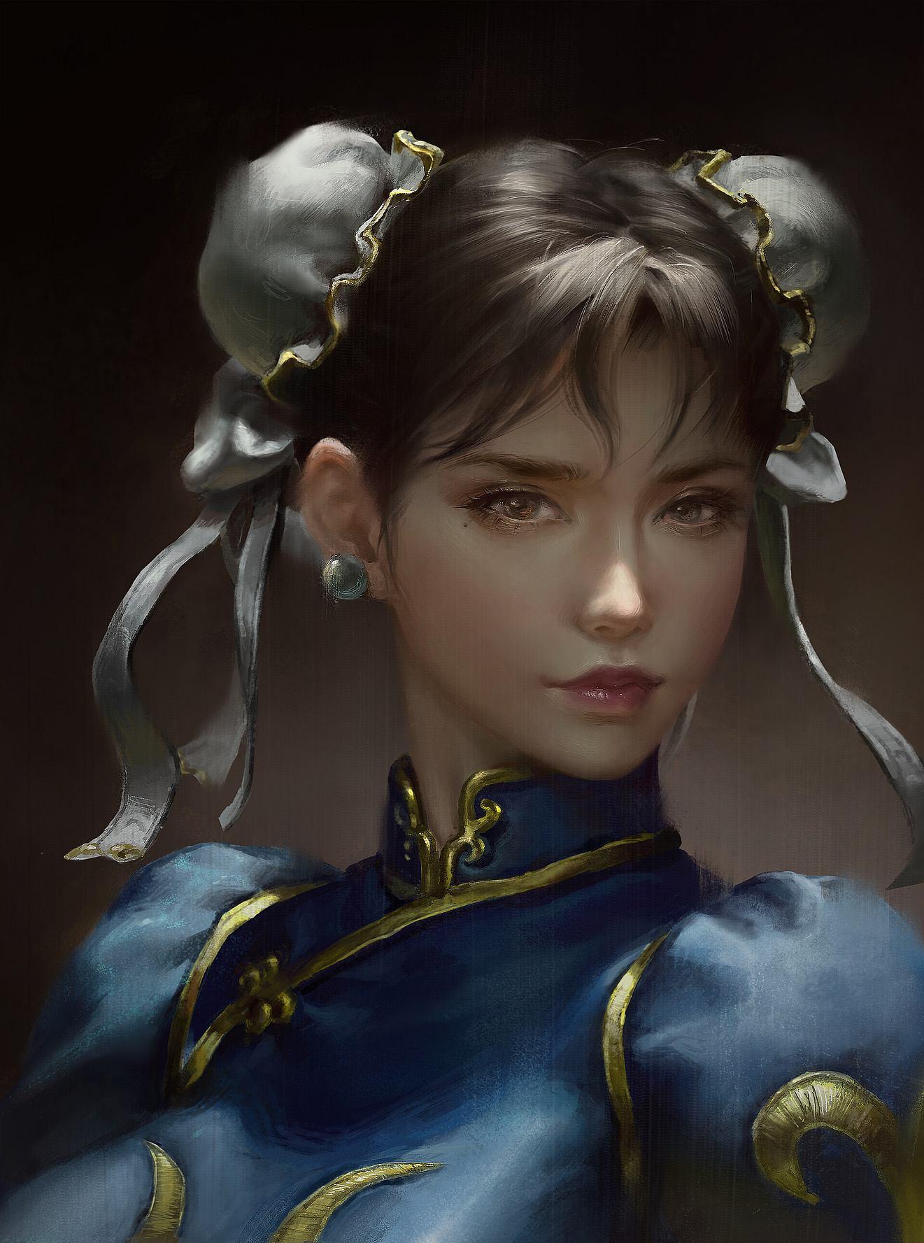 Chun Li Street Fighter Digital Drawing Artist Ley Bowen 张