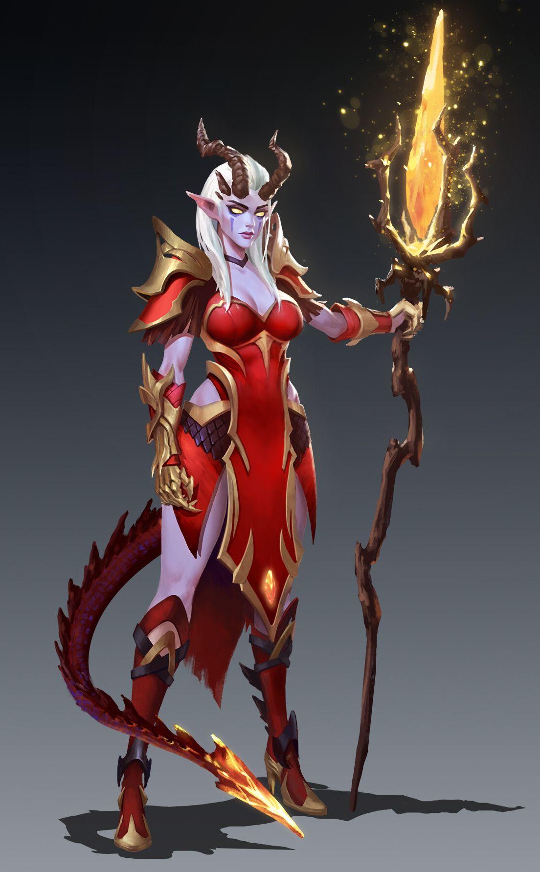 Demon girl with staff: fantasy artwork [Artist: Yang ...