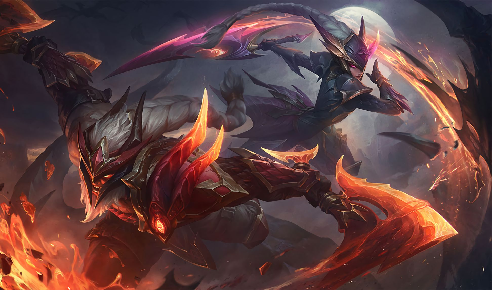 Wallpapers Dragonslayer Diana And Olaf Skins Artist Riot
