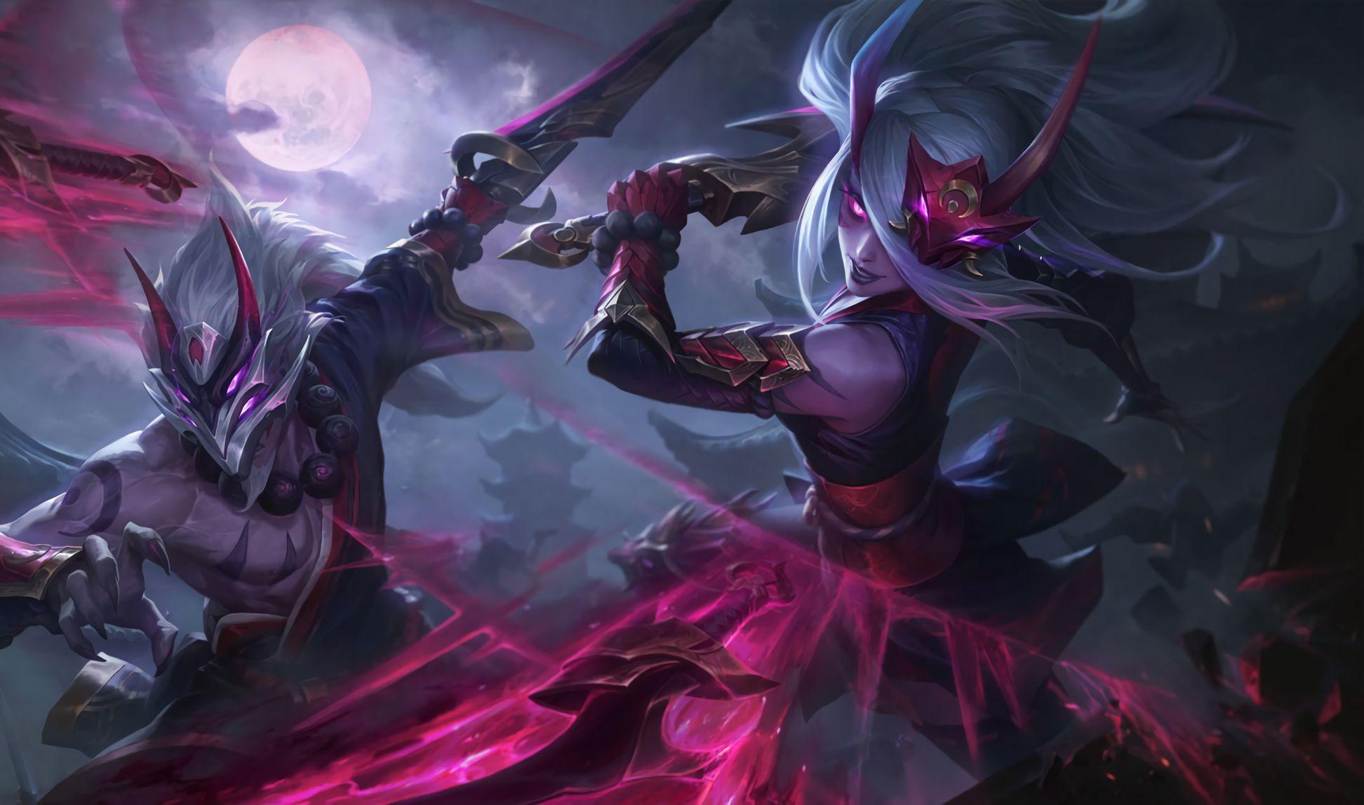 Wallpapers Blood Moon Katarina And Master Yi Skins Artist Riot